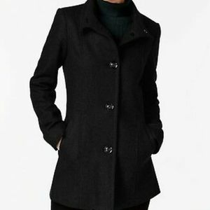 NWOT INC Black Stand Collar Peacoat Wool Blend